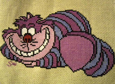 Cheshire cat cross stitch by Santian69
