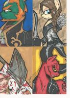 Sketch card commission set pt 2 by PonyGoddess