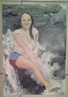WIP Ellie at the waterfall by acrylicwildlife