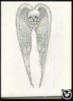 Old skull with wings by heely