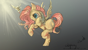 cute running fluttershy- line art (done) by Obpony