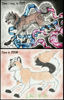 My fursona now and in 2008 by ZairaHusky