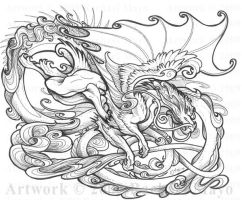 Dragon Dance 06 ink by rachaelm5
