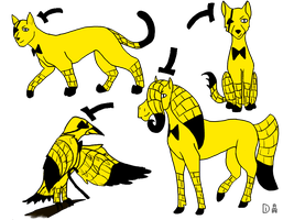 Bill Cipher as different animals by TimeglitchD