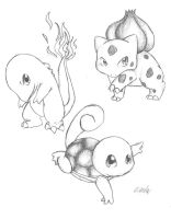 Kanto Starters by neodoodot