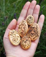Small totem pebbles by BumbleBeeFairy