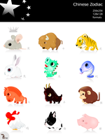Chinese Zodiac icon set by wizzyloveszebras