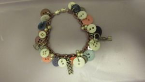 Button and Charm Bracelet by HelloLily13