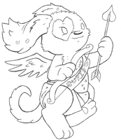 Cupid Puppy Lineart by Maplemay