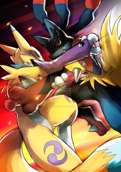 PokeXDigi: Renamon vs Mega Lucario by kotatsucats