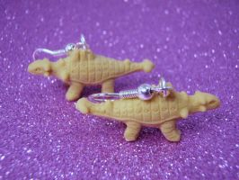 Ankylosaurus earrings by PoniesOfDOOOM