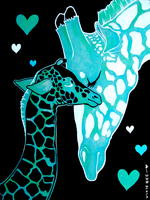 Mama and Baby: Giraffes by Vixie-Bee