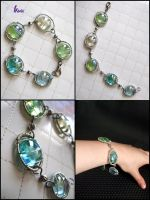 glass bracelet white, turquoise blue, green by K-a-o-r-i