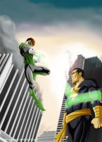 Green Lantern vs Black Adam by chou-roninx