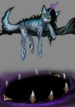 Halloween MLP Cheshire unicorn auction closed by ElkaArt