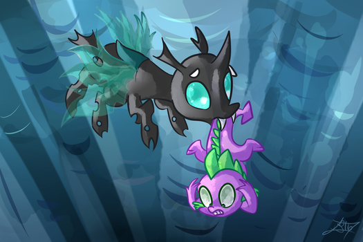MLP Spike and Thorax's First Meeting by Tamoqu