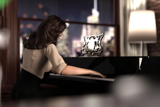 Gina playing piano by FranPHolland