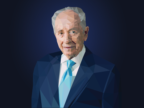 Low-Poly Shimon Peres vector portrait by artrayd