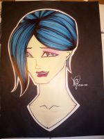 Chick with blue hair by emceelokey