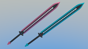 Twin Swords - Red Soul and Blue Heart by Plateal