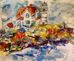 Nubble lighthouse Maine by LaurieLefebvre