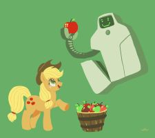 Applejack and Jailbot by DocWario