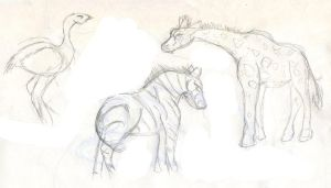 Day at the Zoo Sketches by Starrydance