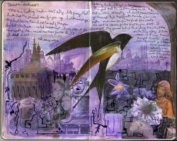 Art Journal - Purple Bird by QueenofCupcakes