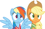 Shocked Rainbow Dash And Applejack by Uponia