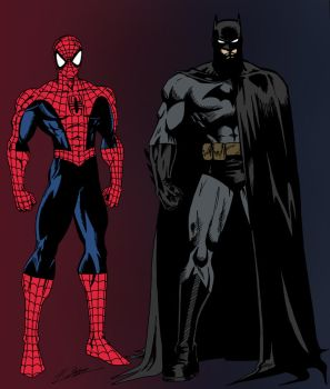 Spider-Man and Batman (Colored) by edCOM02