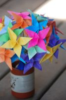 Rainbow Origami Radiance Flowers by lisadeng