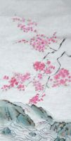 Sumi-e: Falling Blossoms by catherinejao