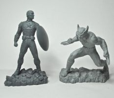 Marvel figures, Captain America and Wolverine by LocascioDesigns
