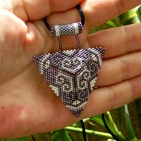 Beautiful purple and white ornament beaded pendant by YANKA-arts-n-crafts