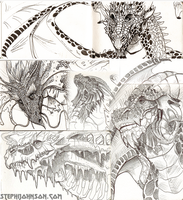 Dragon Pen Drawings by Ifus