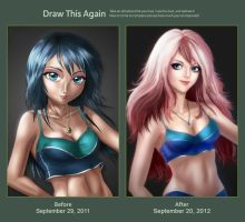 Draw this Again Challenge - Pink Haired Girl by HellPurestDevil