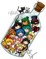 Sailor Senshi in a Bottle by KriIce