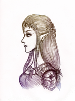 Portrait of a Princess (Pen Sketch) by ColeyCannoli