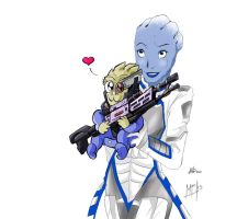 Liara and Lil Garrus by Mirian