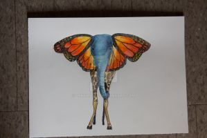 Butterfly Elephant Watercolor by lthomas14