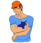 A Big Guy and a Cat by appleaerosol