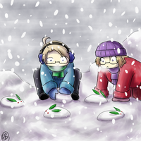 Snow bunnies - Hetalia by TriaElf9