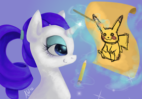 Rarity draws pokemon too by Aba-kadabra