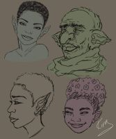 Elf Sketches by KiraTheArtist