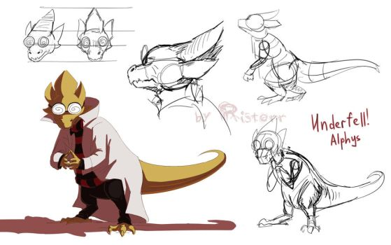 Underfell Sketches - Alphys by Ristorr