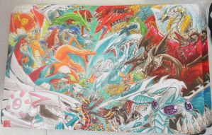 yugioh vs Pokemon Playmat by slifertheskydragon