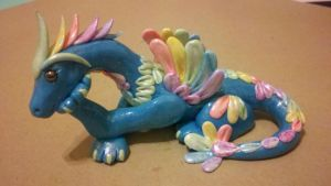 Polymer Clay Pastel Rainbow Dragon by Valtira