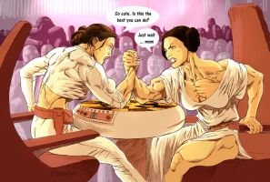 Padme armwrestling Leia by Ritualist