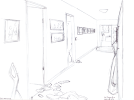 Perspective of a Messy Hallway by tynafish