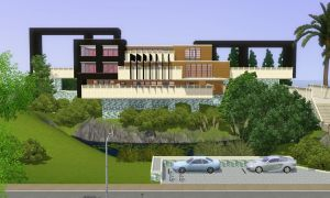 Sims 3 modern hillside home by RamboRocky